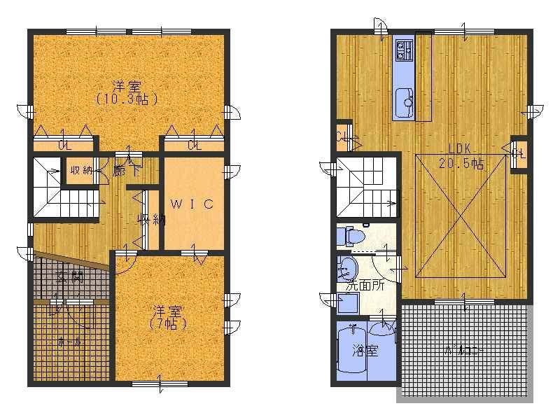 1階部分は3部屋にする事も可能です(^_-)-☆