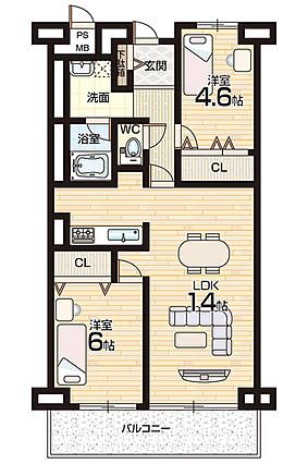 広いリビングで、家具の配置もしやすそうです(^_^)v